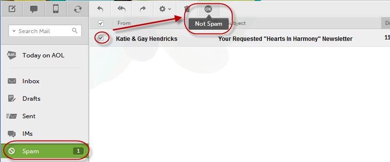 Mark 'Not Spam' in AOL