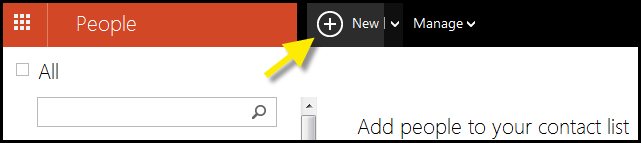 Outlook.com Add New Contact