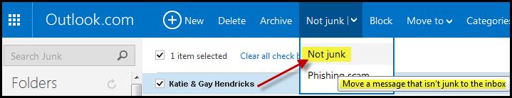 Mark 'Not Junk' in Outlook.com